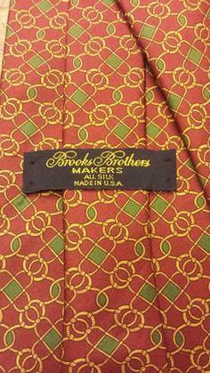"Authentic, Brooks Brothers Makers, Silk, Burgundy, Geometric Print, Tie (59.5"") #BrooksBrothers #NeckTie"