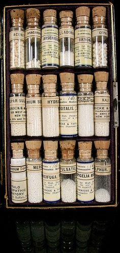 Homeopathy : old bottles Apothecary Bottles, Antique Bottles, Vintage Bottles, Bottles And Jars, Glass Bottles, Apothecary Cabinet, Parfum Poison, Alchemy, Potion Bottle
