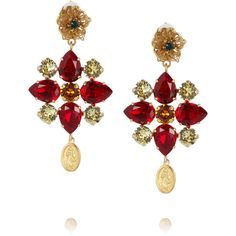 Dolce & Gabbana Escape gold-plated Swarovski crystal clip earrings found on Polyvore