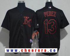 Men's Kansas City Royals #13 Salvador Perez Lights Out Black Pinstripe Stitched MLB Majestic Cool Base Jersey