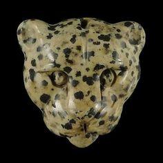 100% Natural Carved Leopard Dalmatian Jasper  Pendant Bead Gemstone