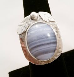 Hand Fabricated Argentium Sterling Silver and Blue Lace Agate Ring  Size 8 1/2 by DKHandcraftedJewelry on Etsy