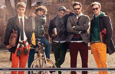 Models Arthur Kulkov, Benjamin Eidem, Marlon Teixeira, RJ King, and Viggo Jonasson posing for Tommy Hilfiger fall winter 2013 advertisement captured by Craig McDean.