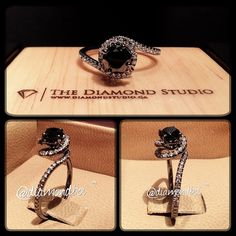 Lately I've been getting a lot of requests for black diamond engagement rings. Here is one that I just finished. This client loved my swirl ring and want to make it more unique to her tastes and likes. She wanted it with a black diamond and black gold. The white diamonds set around the swirl really adds a nice touch. #diamond #diamonds #wedding #weddings #engagement #ring #rings #bride #brides #jewellery #jewelry #black #swirl #diamondboi