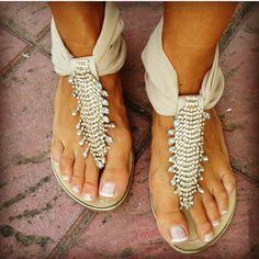 Ribbon beaded sandals