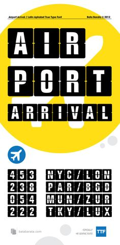 Airport Arrival — TrueType TTF #font #airport • Available here → https://graphicriver.net/item/airport-arrival/2802161?ref=pxcr