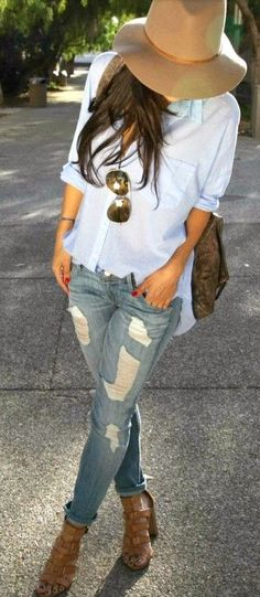 Distressed denim + boyfriend shirt.