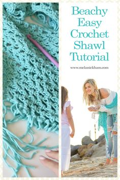 Beginner easy beachy crochet shawl with video tutorial - Free Pattern!