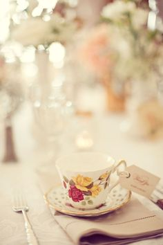 Vintage tea cup place settings | Style Me Pretty