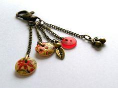 Cherry gift, brass accessory, bag charm, zip charm, brass bag accessory, brass zip charm, vintage accessories, bohemian accessories, boho by DinosaursAndDahlias on Etsy