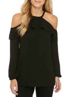 Michael Michael Kors Women's Flounce Cold Shoulder Top - Black - Xs