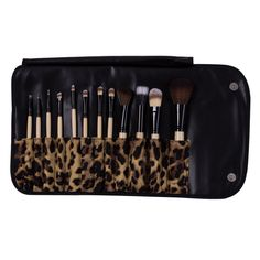 Deluxe Brush Set with Leopard Case (12pc-set), 46% discount @ PatPat Mom Baby Shopping App