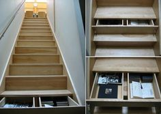 Roundup: Best Staircase Storage Solutions. The drawers under the stair treads are interesting; probably would want to insure they closed automatically.