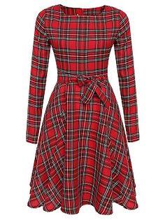 Red Plaid Tie Waist Long Sleeve Skater Dress - Choies.com.  SchnittmusterKariertes KleidRot ... a851249512