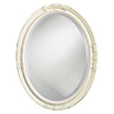 Howard Elliott Queen Anne Oval Wall Mirror - High Gloss White Finish - 25W x 33H in. - The Howard Elliott Queen Ann Wall Mirror's elegance and classic style is the perfect accent for the boudoir or powder room. The oval wood frame features...