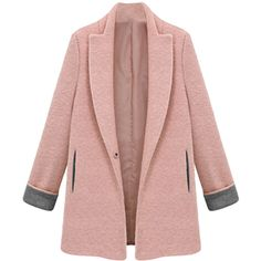 Pink Womens Fashion Long Plain Tweed Loose Blazer (1.149.930 IDR) ❤ liked on Polyvore featuring outerwear, jackets, blazers, pink, longer length blazer, tweed jacket, tweed blazer, pink blazer и long jacket