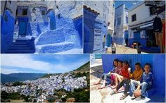 Chefchaouen, Morocco.       Best known for its blue buildings, Chefchaouen is a town that is named after the shape of the mountain tops above the town, a goat with two horns. The town is very popular and has approximately two hundred hotels and many shops that sell local art pieces.