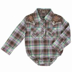 Wrangler Western Plaid Snap Onesie. need this