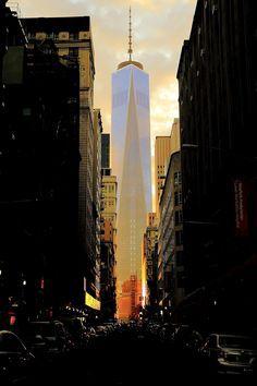 Manhattanhenge by Ji-Ming Benjamin Lo The Freedom Tower, Fulton Street, Visit New York City, I Love Nyc, City Aesthetic, White Picture, World Trade Center, New York Travel, City Streets
