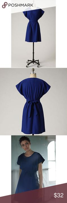 """Anthropologie Lil Button Duo Dress Size 4 NEW Rich cobalt wool slouches gracefully atop a self sash. By Lil. Back zip Wool, viscose, polyester; acetate lining Dry clean 37.75""""L Imported Style No. 930100  Perfect addition to any wardrobe! Comes from a smoke and pet free home. Dress is new without tags and has never been worn. Anthropologie Dresses Midi"""