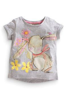 NEXT Bunny Tops Top Girls 9-12 Three Pack Sleeve Frill T-Shirts BNWT
