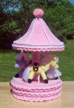 Pony Carousel Gift Trinket Box Crochet Pattern by craftsforangels