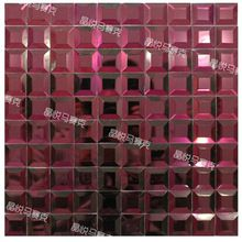 Purple mosaic glass tile backsplash beveled mirror tiles kitchen wall back splash deco mesh kitchen backsplash tile for bathroom(China (Mainland))