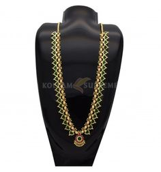 This Green Palakka Mala / Long Chain is traditional and ethnic South Indian, Kerala Jewelry. It is apt for women on occasions like Marriages and engagements.