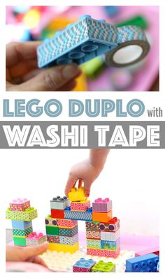 Use washi tape to transform your lego duplo blocks into fresh new blocks to build with. Matching and counting activities too! Use washi tape to transform your lego duplo blocks into fresh new blocks to build with. Matching and counting activities too! Lego Duplo, Lego Activities, Counting Activities, Summer Activities, Legos, Washi Tape Crafts, Halloween Crafts For Kids, Diy Toys, Diy For Kids