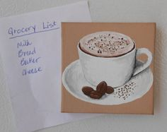 Coffee Cup Painting, Kitchen Coffee Decor, Cappuccino Cup Art, Miniature Paintings, Cute