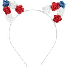 Hot Topic Red White & Blue Flower Cat Ear Headband (€6,13) ❤ liked on Polyvore featuring accessories, hair accessories, head wrap headband, cat ears headband, cat hairband, red hair accessories and rose hair accessories