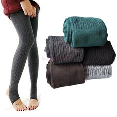 Comfortable Women Cotton Tights Pants Leggings Stirrup Winter Warm Trousers One size
