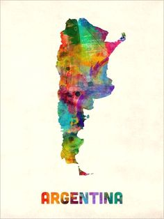 "Trademark Art ""Argentina Watercolor Map"" by Michael Tompsett Graphic Art on Wrapped Canvas Map Canvas, Abstract Canvas, Canvas Prints, Canvas Size, Watercolor Map, Framed Maps, Map Art, Artist Canvas, Graphic Art"