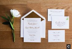 Real Wedding | Caroline & Logan's Calligraphy + Gold Foiled Stationery