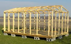 16X20 Shed Plans | All wall and roof framing is from solid wood 2x4's. No skimpy 2x3's or ...