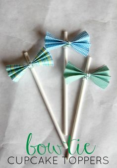 DIY Bowtie Cupcake Toppers - baby shower - coordinating invitation and party suite available at www.etsy.com/shop/shoplemondrops