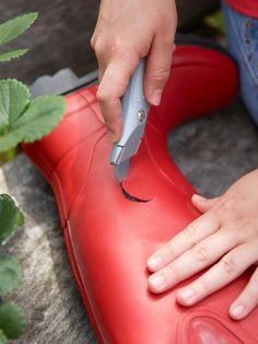 How to use old rubber boots to make a strawberry container garden --> http://www.hgtv.com/gardening/how-to-plant-a-strawberry-container-garden/index.html?soc=pinterest