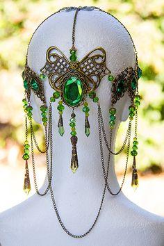 Emerald Dreams Circlet, stunning bronze & Emerald green hand made filigree bridal circlet.