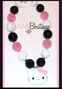 Toddler Necklace, Hello Kitty Pink and Black Necklace on Etsy, $19.00