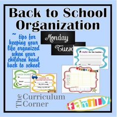 Back to School Organization Tips for Home - Awesome ideas for getting your life at home off to a good start as the kids go back to school.  Includes notes for the teacher and a printable chore chart plus more!  Freebies from www.thecurriculumcornerfamily.com.