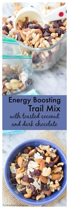 This Energy Boosting Trail Mix with Toasted Coconut and Dark Chocolate is a yummy and healthy snack! Packed with nuts, seeds, dried cherries and chocolate chips for the perfect balance of salty and sweet! Healthy Camping Snacks, Healthy Salty Snacks, Healthy Snack Options, Fitness Snacks, Yummy Snacks, Clean Eating Snacks, Healthy Desserts, Healthy Eating, Yummy Food