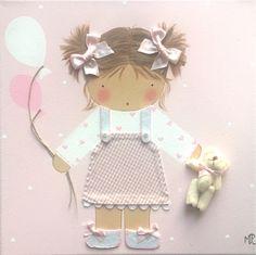 Cuadro artesanal rosa y personalizado para niñas