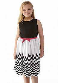 Bloome Solid to Chevron Print Dress Girls Plus