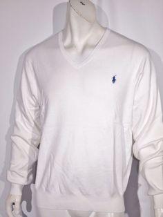 Polo Ralph Lauren men's pima v-neck sweater size medium NWT color white #PoloRalphLauren #VNeck