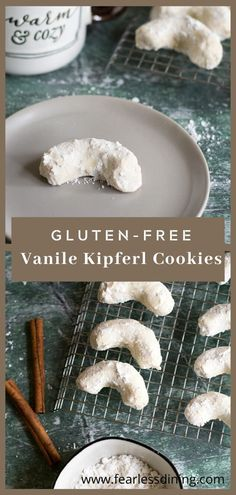 These gluten free vanilla crescent cookies make a wonderful treat. They melt in your mouth. Dusted with powdered sugar. Vanile Kipferl cookies. fearlessdining Gluten Free Cookie Recipes, Gluten Free Cookies, Bhg Recipes, Crescent Cookies, Breakfast Recipes, Dinner Recipes, Healty Dinner, Spring Desserts, Food For A Crowd