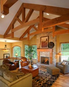 83 Basement Finishing Ceilings Ideas - Okay, your cellar has been made by you and also produces a floor program! You have fixed any water or moisture issues. Roof Truss Design, Wood Truss, Log Home Interiors, Timber Frame Homes, Pole Barn Homes, Exposed Wood, Industrial House, Log Homes, Great Rooms