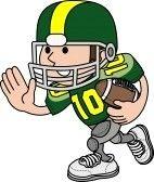 Football Player Cartoon : Illustration of American football player running with football  Vector