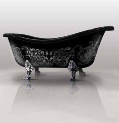 Stenciled clawfoot tub - Dennie's Resurfacing was hired to custom replicate this design in 2013