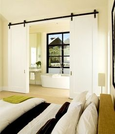 barn doors / plain doors   I've been thinking of doing this in front of the fabric storage area???