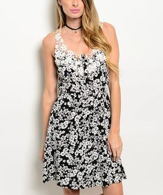 Loving this Black & White Floral Lace-Yoke Racerback Dress on #zulily! #zulilyfinds